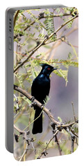 Phainopepla Black Cardinal Portable Battery Charger