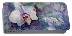 Phalaenopsis Orchid With Hyacinth Background Portable Battery Charger