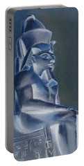 Portable Battery Charger featuring the mixed media Pharaoh In Blue by Elizabeth Lock