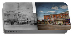 Portable Battery Charger featuring the photograph Pharmacy - The Corner Drugstore 1910 - Side By Side by Mike Savad