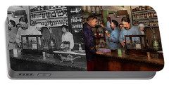 Portable Battery Charger featuring the photograph Pharmacy - The Dispensing Chemist 1918 - Side By Side by Mike Savad