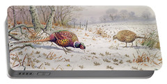 Pheasant And Partridge Eating  Portable Battery Charger