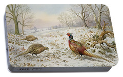 Pheasant And Partridges In A Snowy Landscape Portable Battery Charger by Carl Donner