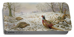 Pheasant And Partridges In A Snowy Landscape Portable Battery Charger