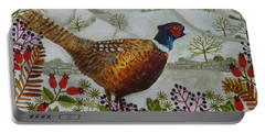 Pheasant And Snowy Hillside Portable Battery Charger