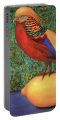 Pheasant On A Lemon Portable Battery Charger by Leah Saulnier The Painting Maniac