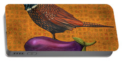 Pheasant On An Eggplant Portable Battery Charger