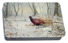 Pheasants In Snow Portable Battery Charger by Carl Donner