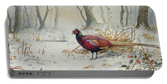 Pheasants In Snow Portable Battery Charger