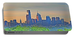Philadelphia At Sunrise Portable Battery Charger by Bill Cannon