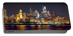 Philadelphia Philly Skyline At Night From East Color Portable Battery Charger
