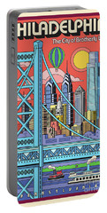 Philadelphia Pop Art Travel Poster Portable Battery Charger