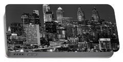 Philadelphia Skyline At Night Black And White Bw  Portable Battery Charger