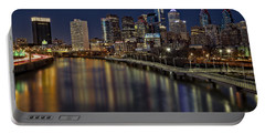 Philadelphia Skyline At Night Portable Battery Charger by Susan Candelario