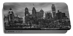 Philadelphia Skyline Bw Portable Battery Charger by Susan Candelario
