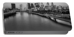 Philadelphia Skyline Pastels Bw Portable Battery Charger by Susan Candelario