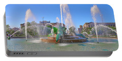 Portable Battery Charger featuring the photograph Philadelphia - Swann Fountain At Logan Square by Bill Cannon