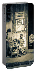 Portable Battery Charger featuring the photograph Phonecall On Chinese Street by Heiko Koehrer-Wagner