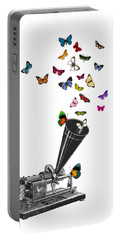 Phonograph And Butterflies Print Portable Battery Charger