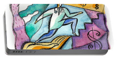 Portable Battery Charger featuring the painting Physician And Money by Leon Zernitsky