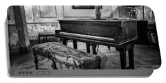 Portable Battery Charger featuring the photograph Piano At Josie's House Bw by Joan Carroll