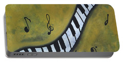 Portable Battery Charger featuring the painting Piano Music Abstract Art By Saribelle by Saribelle Rodriguez