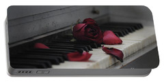 Piano With Vintage Rose Portable Battery Charger