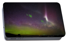Portable Battery Charger featuring the photograph Picket Fences And Proton Arc, Aurora Australis by Odille Esmonde-Morgan