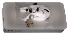 Portable Battery Charger featuring the photograph Pico And Toy Mouse by Phyllis Kaltenbach