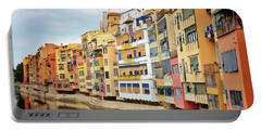 Picturesque Buildings Along The River In Girona, Catalonia Portable Battery Charger