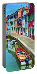 Picturesque Buildings And Boats In Burano Portable Battery Charger