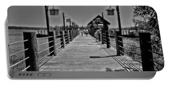 Pier At Fort Wilderness In Black And White Walt Disney World Mp Portable Battery Charger