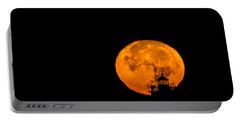 Portable Battery Charger featuring the photograph Pierhead Supermoon Silhouette by Everet Regal