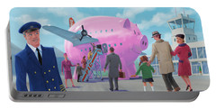 Portable Battery Charger featuring the digital art Pig Airline Airport by Martin Davey
