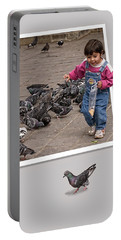 Pigeon Control Problem - Child Feeding Pigeons Portable Battery Charger