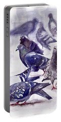 Pigeons Watercolor Portable Battery Charger