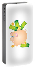 Piggy Bank With Bills And Coins Illustration Portable Battery Charger