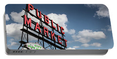 Portable Battery Charger featuring the photograph Pike Place Market by Ed Clark