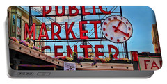 Pike Place Market Portable Battery Charger by Joan  Minchak