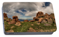 Portable Battery Charger featuring the photograph Pikes Peak Panorama by Chris Bordeleau