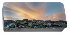 Piles Of Rocks And The Dawn Portable Battery Charger