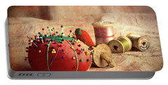 Pin Cushion And Wooden Thread Spools Portable Battery Charger