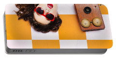 Portable Battery Charger featuring the photograph Pin-up Beauty Decision Making On Old Phone by Jorgo Photography - Wall Art Gallery