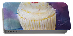 Portable Battery Charger featuring the painting Pina Colada Cupcake by Judy Fischer Walton