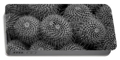 Pincushion Cactus In Black And White Portable Battery Charger by Michiale Schneider