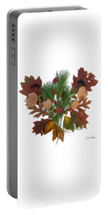 Portable Battery Charger featuring the digital art Pine And Leaf Bouquet by Lise Winne