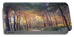 Pine Forest At Sunset Portable Battery Charger
