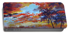 Portable Battery Charger featuring the painting Pine Island Sunset by Lou Ann Bagnall