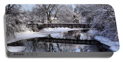 Pine River Foot Bridge From Superior In Winter Portable Battery Charger