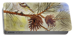 Pine Siskin Among The Pinecones Portable Battery Charger